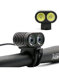 SOOJET BBT09 USB Rechargeable LED Feux de vélo, 2500 Lumière, 3 Modes De Luminosité, Antichoc, Impermeable, Pour VTT VTC Cycliste Camping Loisir