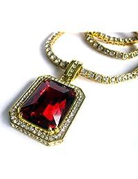 Rick Ross laboratorio Ruby chapado en oro Hiphop bling colgante y cadena de diamantes de imitación con