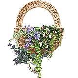 Wandbehang Blume Korb Künstliche Blumentopf Aufhänger Requisiten Wand Bambus geflochtenen Korb Decor Indoor Outdoor, khaki