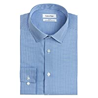 "Calvin Klein Men's Dress Shirt Slim Fit Non Iron Gingham, Blue, 16"" Neck 32""-33"" Sleeve (Large)"