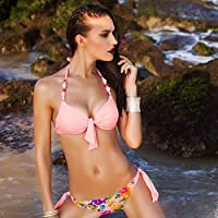 AN Verano occidental dividir bikini traje de baño de moda placa de acero reunir traje de baño,Rosado,L