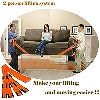 Lennystone Lifting and Moving Straps Sistema de elevación y movimiento para 2 personas: mueva, transporte, levante muebles, electrodomésticos y objetos pesados fácilmente (sistema de elevación para 2 personas)