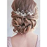 Unicra Silver Wedding Flower Épingles À Cheveux De Mariée Coiffures Pièces De Cheveux De Mariage Accessoires de mariée (Lot de 3)