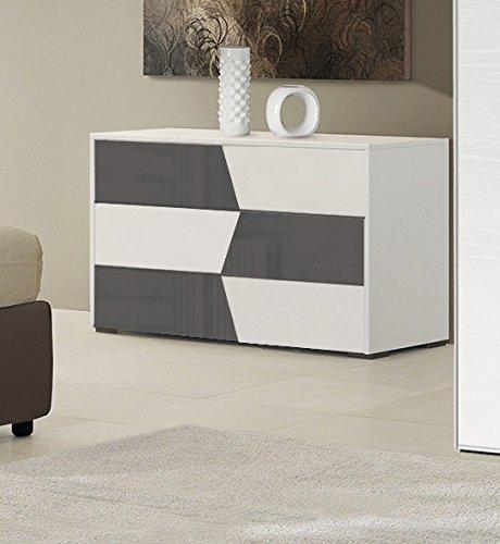 Kommode Doppelbett 3Schubladen cm L127–Farbe Weiß und Grau TS03 (Esche Kommode Schlafzimmer)