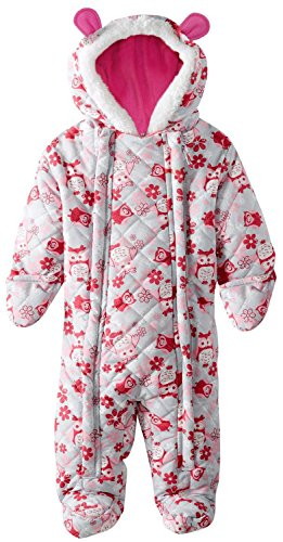 pink-platinum-baby-girls-owl-microfleece-quilted-puffer-snow-pram-suit-bunting-pink-3-6-months