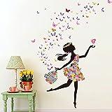 Wallpark Romantique Dansant Fille Fleur Fée Papillon Amovible Stickers Muraux Autocollants, Enfants Bébé Chambre Pépinière DIY Décoratif Adhésif Stickers Mural