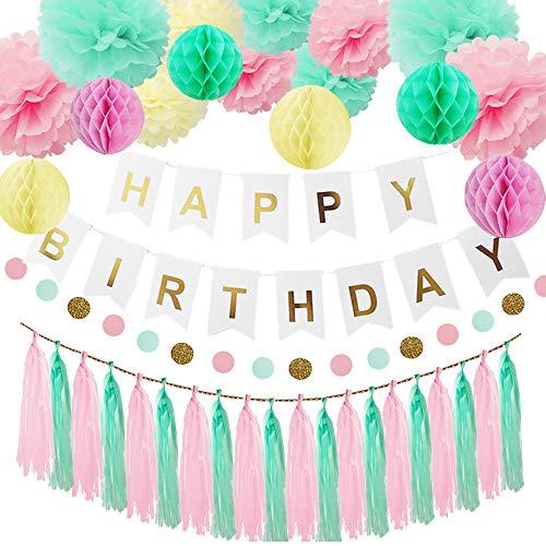 HappyHours Geburtstagsdeko Mint Mädchen, Jungen, Happy Birthday Girlande, 38 Stücks Deko Rosa Grün, deko Set Geburtstag