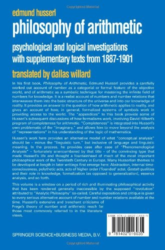 Philosophy of Arithmetic: Psychological and Logical Investigations with Supplementary Texts from 1887-1901 (Husserliana: Edmund Husserl - Collected Works)