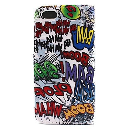Apple iphone 5/5s Hülle, Ekakashop iphone 5s Kreativ Graffiti Muster Flip Schale Ledertasche Handyhülle Schutzhüllen für iphone 5, Schlank Vollkörper Stand Schwarz PU Leder Wallet Schutzfolie Tasche E Cartoon Comic Graffiti