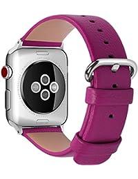 15 Colores para Correa Apple Watch, Fullmosa®Yan Cuero iWatch Correa/Pulsera/Banda/Band/Strap para Reemplazo/Recambio de Reloj Ediciones 2015 2016 2017 para Apple Watch Series 3, iWatch Series 3, Series 2, Series 1, Rosa Fucsia 38mm