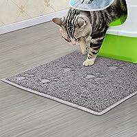 LA VIE Alfombrilla para Comedero de PVC Antideslizante y Impermeable para Gatos Gatitos y Cachorros Tapete para Comer de Mascotas Dog Cat Mat en Forma de Rectangular M Gris
