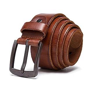 KT-SUPPLY Herren Ledergürtel, aus echtem Leder, kürzbar, 40mm breit 120 cm läng - cognac