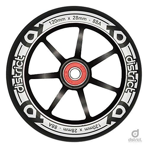 District 120mm LP 28mm breit Tretrollerrad (Single)–Schwarz/Schwarz