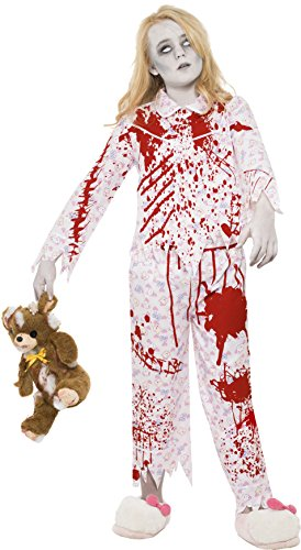 Halloween Uk Kostüme Jungs (Smiffys Kinder Zombie Pyjama Mädchen Kostüm, Oberteil und Hose, Größe: L,)