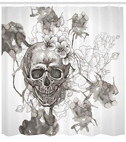 DAY OF THE DEAD Decor Vorhang für die Dusche von ambesonne Gemälde Skull Flowers, Dia De Los Muertos Festive Decor Print, Stoff Badezimmer Decor Set mit Haken, 213,4cm Extra Lang, dimgrey und weiß (Dusche Vorhang Haken Weiß)