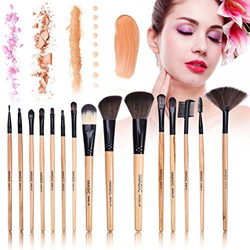 15 brocha de maquillaje Cosméticos profesionales, sombras, párpados, base, polvos, colorete Buena calidad del pelo de las brochas