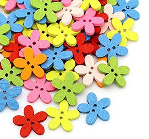 Kingstons, Colorful Flower Flache Holz Knöpfe Scrapbooking Craft Annähen (Kingston Holz)