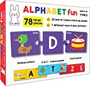 Play Poco Alphabet Fun Type 2 - 78 Piece Alphabet Matching Puzzle - 7 Different Ways to Play and Learn - Inclu
