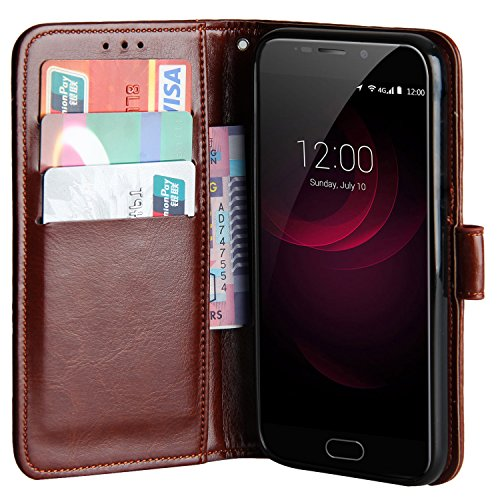 Raiphy Leder Brieftasche Hülle für Umi Plus/UMIDIGI Plus,Telefon schützender lederner Fall mit Einem Einbauschlitz und Standfunktion (Braun)