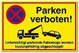 Schild Parken Verboten Unberechtigt parkende Fahrzeuge Werden kostenpflichtig abgeschleppt! Gelb | Stabiles Alu Schild mit UV-Schutz 30 x 20 cm | Parkverbot | Dreifke
