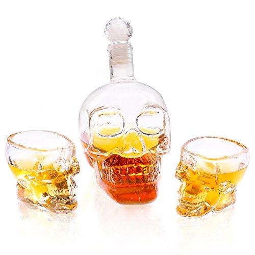 Grenhaven Totenkopf Whisky Set Glaskaraffe 350 ml mit 2 Totenkopf Schnapsgläsern 4 cl Whisky...