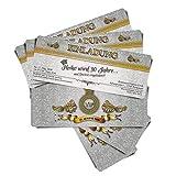 20 Geburtstagskarten Geburtstagseinladungen Einladungskarten zum Geburtstag VIP Royal Grey Ticket Eintrittskarte