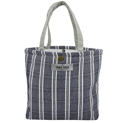 Borsa termica in tela, borsa per picnic, barbecue, per portare cibo in viaggio, a scuola, in ufficio, a pranzo nero navy blue striped