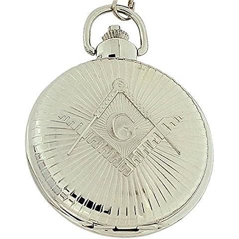 Boxx orologio da tasca massoneria jumbo color argento con catena 12 pollici M5099