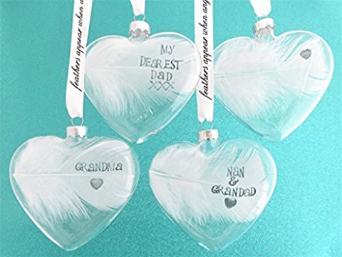 A White Fluffy Feather Heart Personalized Handstamped Name Date Blessings Ornament Bauble / Traditional Decoration Keepsake. Handcrafted Ink Stamped