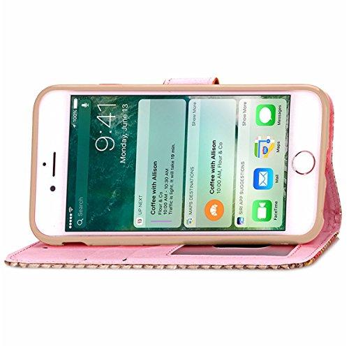 iPhone 7 Plus Coque, Apple iPhone 7 Plus Coque, Lifeturt [ Bleu ] Motif Pure Couleur Housse en Cuir Case à Avec La Fonction Stand Coque de Intérieure Protection Souple Coque Portefeuille TPU Silicone  E2-Marron