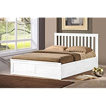 wooden ottoman storage bed double 4ft6 5ft king white oak storage