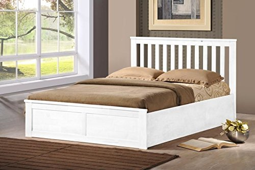 wooden ottoman storage bed double 4ft6 - 5ft king white oak storage bed gas lift (4ft6 double, white)