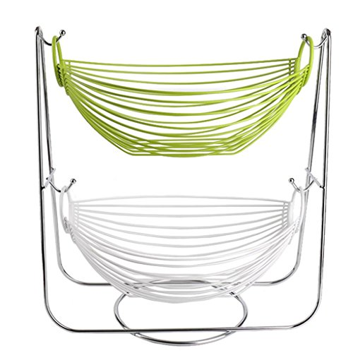C&S CS Obstschale Obst Snacks Korb Haushalt Wohnzimmer Ablagekorb Eisen Doppel Wiege (Color : Green+White) - Eisen-baby-wiege