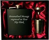 Personalisierte 6 Unzen schwarz FLACHMANN in Geschenkbox mit Trichter und 4 Schüsse (red Liner) Hochzeitsgeschenk, Geburtstagsgeschenk, Vatertag, Weihnachtsgeschenk
