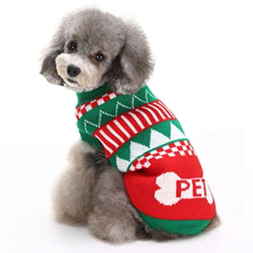 Fair-isle-rollkragen-pullover (ranphy Rollkragen Hundepullover mit Zopfmuster Pullover Strick Pullover für Weihnachten Urlaub Pullover Visual High Neck)
