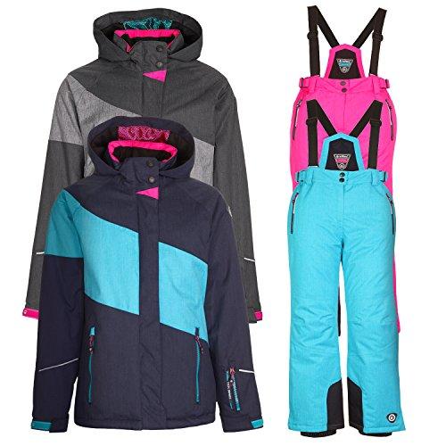 Kinderskianzug Skijacke Kaiti Jr. grau + Skihose Danya Jr. pink - Gr. 128