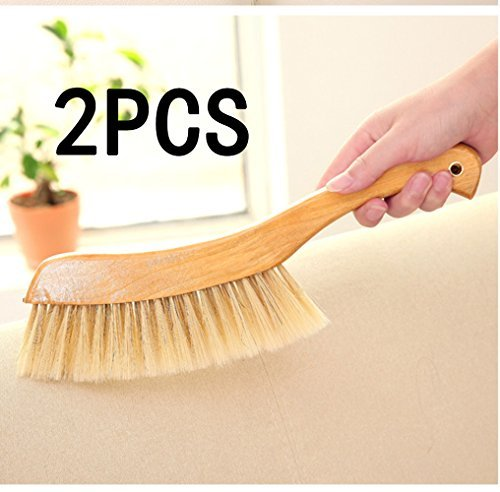 Price comparison product image Soft Cleaning Brush -2PCS Wood Handle Hotel Family Clothes Dust Hair Sofa Bed Sheets Bedspread Carpet Cleaning Natural Bristle Brush Wooden Large Set of 2