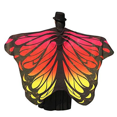 Fee Kostüm Mitternacht - QIMANZI Schmetterling kostüm, Frauen Weiches Gewebe Schmetterlingsflügel Schal Fee Damen Nymph Pixie Kostüm Zubehör für Show/Daily/Party Cosplay Kostüm Zusatz(Orange)