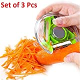 Lukzer (Set of 3 Pcs) 3 Bladed 3 in 1 Design Rotary Vegetable Fruit Peeler Heavy Quality (Assorted Color)