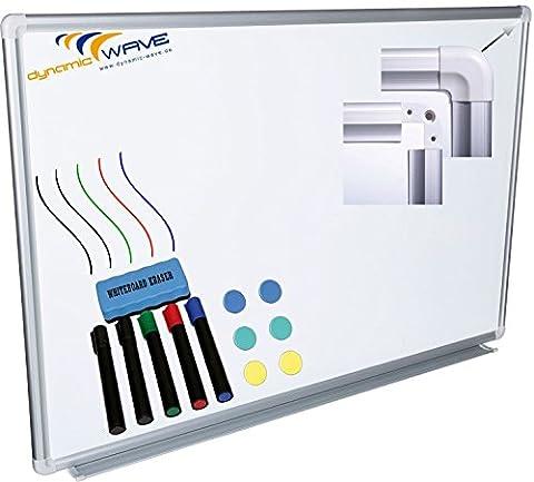 Whiteboard Magnettafel mit Alurahmen und durchgehender Stiftablage, in 9 Größen, schutzlackiert magnethaftend, mit Montagematerial und gratis Zubehör (Stifte,Schwämme,Magnete), Größe:150x100 cm
