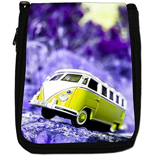 Scena Camper-Borsa a tracolla in tela, colore: nero, taglia: M Nero (Yellow Camper Van Scene)