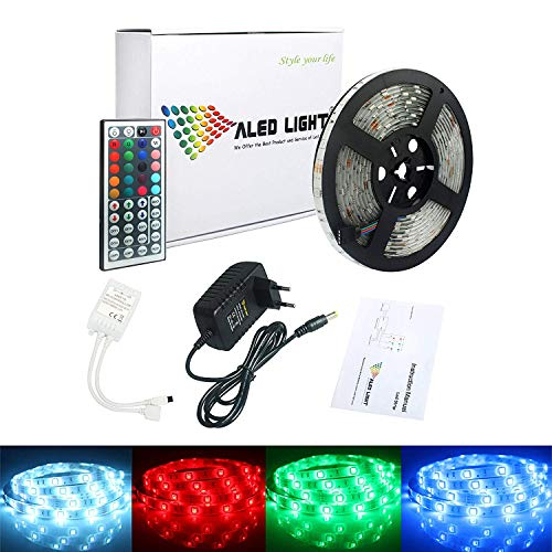 ALED LIGHT Tiras de Luz LED 5050 SMD RGB, 5M de Longitud Multicolor 150 LEDs + Control Remoto de 44 Botones y Fuente de Alimentación, Impermeable