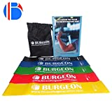 #8: Resistance Band For Exercise Set Of 5 With Physical Booklet With 40 Plus Exercises,Stretch Bands, Exercise Band, Loop Band for Exercise, Rehab,Improved Mobility - Light, Medium, Heavy, Resistance Loop Bands For Fitness, Butt, shoulder, Glutes, Yoga, Physical Therapy, Home exercise Training for Women, Men by Burgeon™.