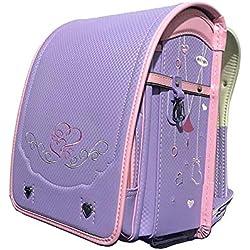 MIMI KING Bolso de Escuela de Estilo japonés para niños Ridge Decompresión Impermeable Mochila PU Cuero A4 Tamaño para niños y niñas,Purple