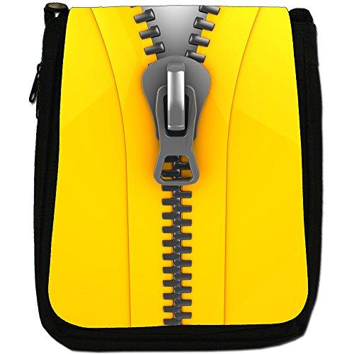 Zip It Up/Down-Borsa a tracolla in tela, colore: nero, taglia: M Nero (Close Up Of Yellow Zip)