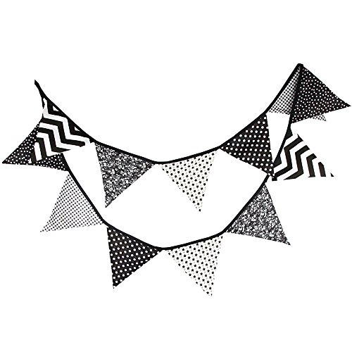 z weißen Fahnen Wimpelkette für Kinder Baby Geburtstag Wimpel Girlanden Halloween Party Banner Hochzeits dekorationen (Schwarz Und Weiß Halloween-seite)