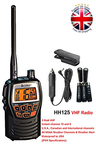 Cobra Mr Hh125 Compact Waterproof Marine Handheld Vhf Radio With 1 Or 3 Watts All Weather Channels And Weather Alert Black Buy Online In India At Desertcart In Productid 66180294