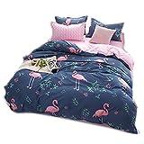 CHAOSE Bettwäsche Set Flamingo Muster Polyester-Baumwolle Hohe Qualität Bettbezug-Set Einzelbett Doppelbett (Single Size(135x200CM Einzelbett))