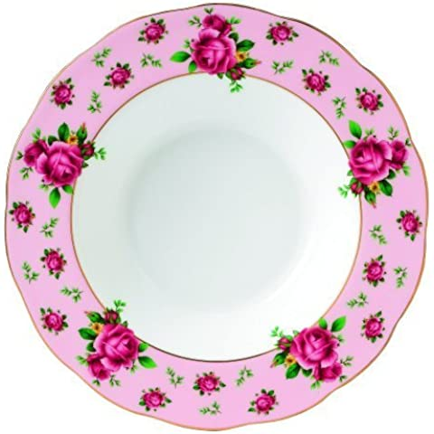 Royal Albert New Country Roses Formal Vintage Rimmed Soup/Salad Bowl, 11-Inch, Pink by Royal Albert
