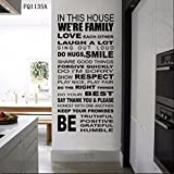 Zooarts House Home Rule Quote Wall Stickers Removable Vinyl Decals Art Decor Home Room Mural by Zooarts